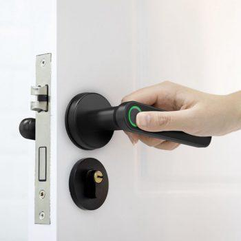 [EU DIRECT - PL] Exitec H03 Smart Fingerprint Key Lock with Biometric, Keyless Entry Mechanical Handle with Bluetooth, App Support, Multilingual, Left and Right, Compatible with 35-58mm thickness for Main Door Entrance, Master Room, Home, Hotel, Apartment, School