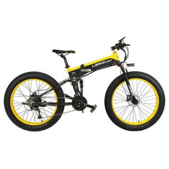 [EU DIRECT - PL] LANKELEISI XT750 Plus Folding Electric Bike Bicycle 48V 12.8AH 500W 26X4.0 Fat Tire Aluminum Alloy Frame Shimano Gear Shift Max Speed 40km/h IP54 100KM Mileage Range - Black Yellow