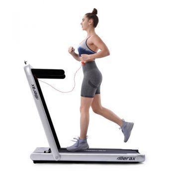 [EU DIRECT - DE] Merax 2.25 HP Electric Folding Treadmill 2-in-1 Running Machine with Remote Control/LED Display Fully Assembled Portable - Silver