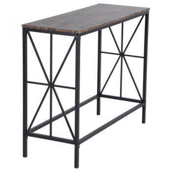 [EU DIRECT - DE] NAVIN-LMKZ Wooden Table Simple Industrial Style Steel Frame Oak Material For Corridor Bedroom Bathroom - Dark Brown