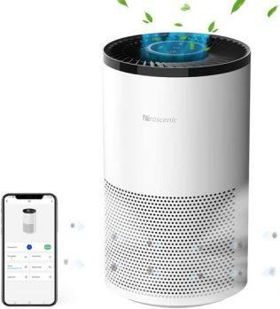 [EU DIRECT - EU] Proscenic A8 Air Purifier for Home with H13 True HEPA Filter, APP & Alexa & Google Voice Control, Air Cleaner for Smokers Allergies Pets Hairs Odor Eliminators, 4 Stages Filtration, Timer & Schedule - White