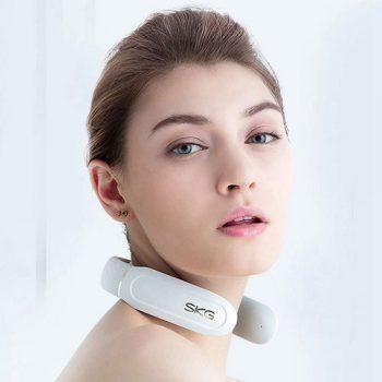 SKG Smart Neck Massager With Heating Function Wireless 3D Travel Lightweight Electric Neck Massage Equipment With Remote For Commute Shopping- White
