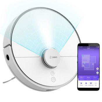 [EU DIRECT - EU] 360 S5 Smart Robot Vacuum Cleaner 2000Pa Suction LDS Laser Navigation Sweeping Mopping Cleaning Japan Brushless Motor 65dB Low Noise APP Control 110min Runtime - White