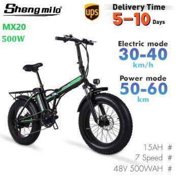 [EU WAREHOUSE - PL] EU MX20 Folding Electric 500W Mountain Bike 15Ah 20 Inch Fat Tire Bicycle City Moped Beach Cruiser Shengmilo E-bike