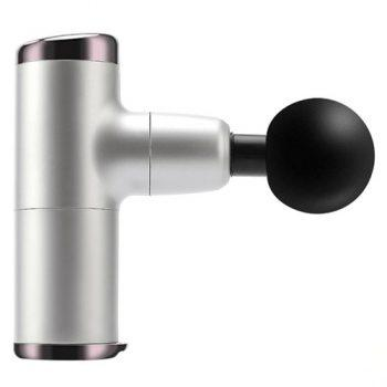 [EU WAREHOUSE - PL] Handheld Percussion Massage Mini Gun Deep Tissue Massager for Sore Muscle, Stiffness, Pain Relief, Body Shaping with 4 Speed High-Intensity Vibration Modes, Includes 4 Massage Heads - Silver
